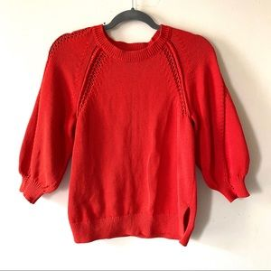 Lucky Brand Puff Sleeve Red/Orange knit sweater